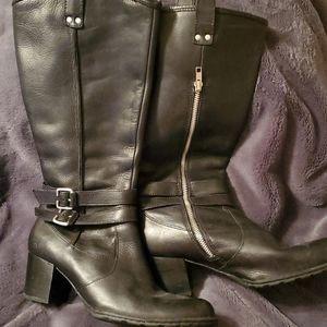 Born black heeled buckle tall moto riding boots